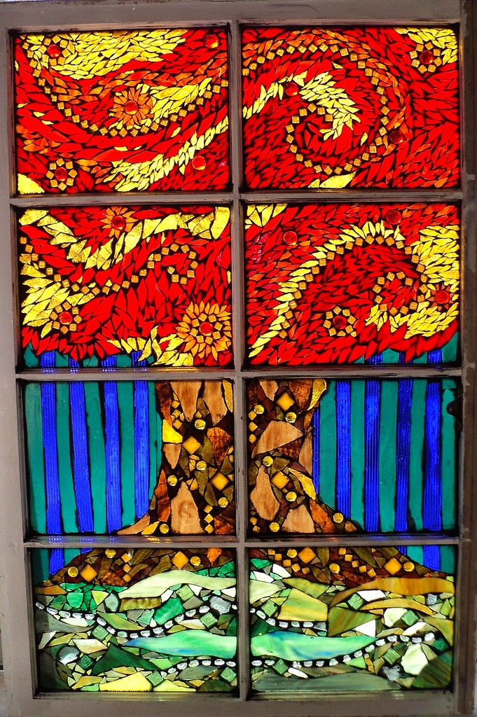 Autum Tree Stained Glas Mosaic Window